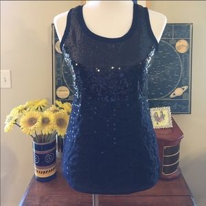{THE LIMITED} Navy Blue Sequin Tank Top
